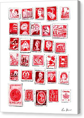 Love Letters Red Stamp Collection Romantic Canvas Print by Laura Row