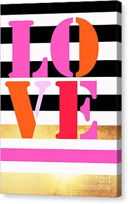 Love Letters - Stripes And Gold Canvas Print by WALL ART and HOME DECOR