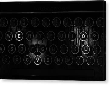 Love Letters Vintage Typewriter Keys Black And White Canvas Print