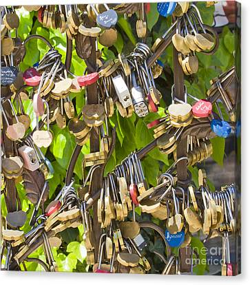 Canvas Print featuring the photograph Love Locks Square by Chris Dutton