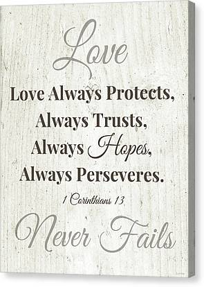Love Never Fails- Art By Linda Woods Canvas Print by Linda Woods