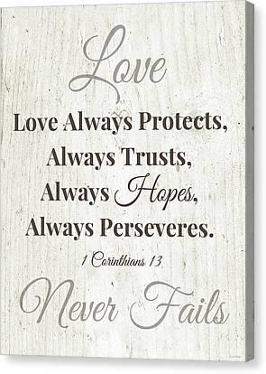 Love Never Fails- Art By Linda Woods Canvas Print