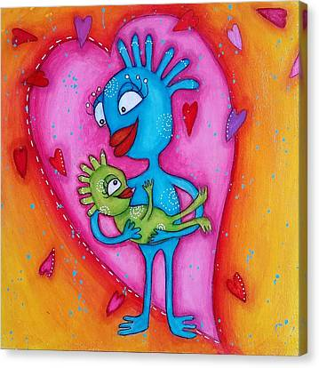 Canvas Print - Love Of A Mother by Barbara Orenya