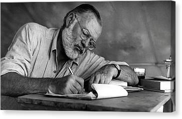 Love Of Writing - Ernest Hemingway Canvas Print by Daniel Hagerman