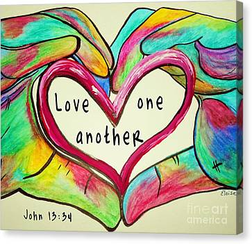 Love One Another John 13 34 Canvas Print by Eloise Schneider