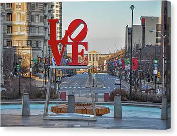 Love Overlooking Benjamin Franklin Parkway Canvas Print by Bill Cannon