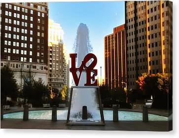 Love Park - Love Conquers All Canvas Print by Bill Cannon