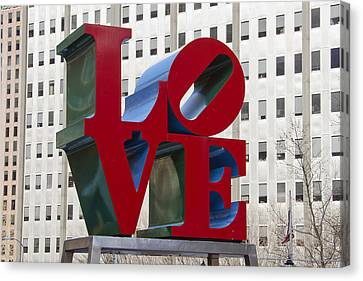 Love Park In Center City - Philadelphia Canvas Print by Brendan Reals