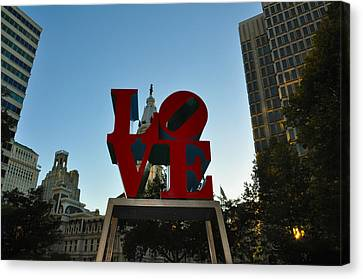 Love Park In Philadelphia Canvas Print by Bill Cannon