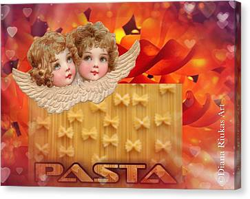 Italian Kitchen Canvas Print - Love Pasta by Diana Riukas