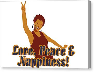 Love Peace And Nappiness Canvas Print by Rachel Natalie Rawlins