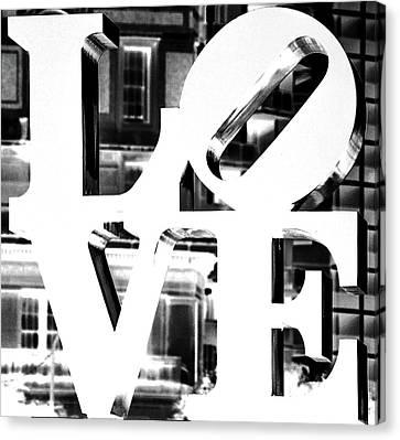 Love Philadelphia White  Canvas Print by Terry DeLuco