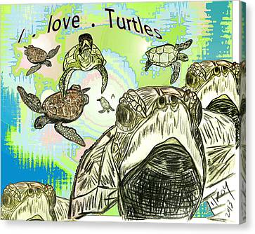 Caribbean Canvas Print - 'love Sea Turtles by W Gilroy