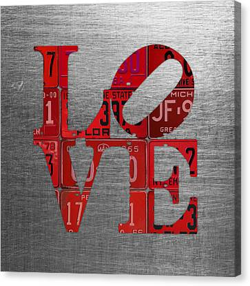Love Sign Philadelphia Recycled Red Vintage License Plates On Aluminum Sheet Canvas Print by Design Turnpike