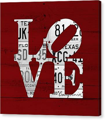 Love Sign Vintage License Plates On Red Barn Wood Canvas Print