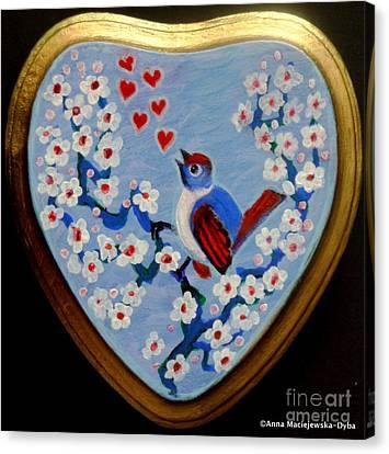 Love Song Folk Heart Canvas Print by Anna Folkartanna Maciejewska-Dyba