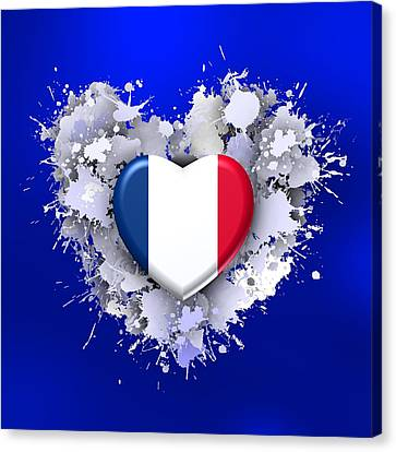 Love To France Over Blue Canvas Print by Alberto RuiZ