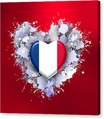 Love To France Ovr Red Canvas Print
