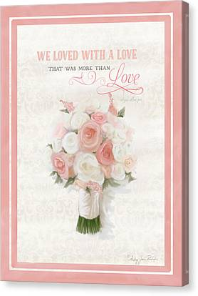 Love Typography Bridal Bouquet Damask Lace Coral Peach Blush Canvas Print