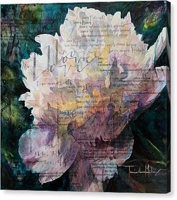 Love - White Peony Canvas Print by Trish McKinney