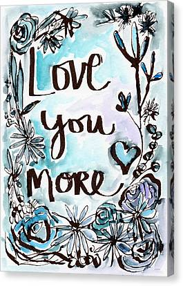 Love You More- Watercolor Art By Linda Woods Canvas Print by Linda Woods