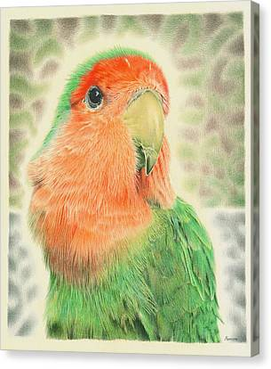 Peaches Canvas Print - Lovebird Pilaf by Remrov
