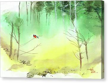 Lovebirds 3 Canvas Print by Anil Nene