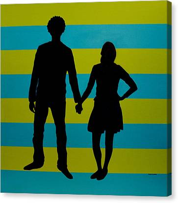 Lovebirds In Silhouette Canvas Print by Ramey Guerra