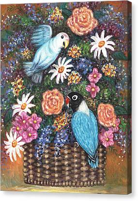 Lovebirds Two Canvas Print by Linda Mears