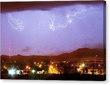 Loveland Colorado Front Range Foothills  Lightning Thunderstorm Canvas Print by James BO  Insogna