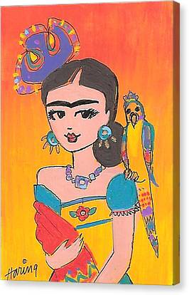 Lovely Frida And Her Parrot Canvas Print by Karen Haring