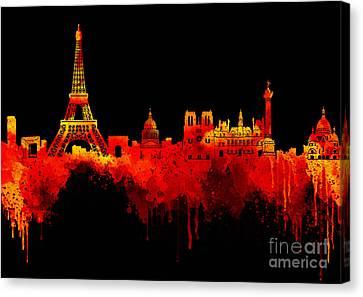 Love Paris In Golden Night Canvas Print
