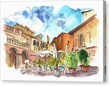 Lovely Street Cafe In Albi Canvas Print by Miki De Goodaboom