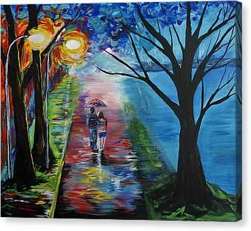 Lovely Stroll By The Lake Canvas Print by Leslie Allen