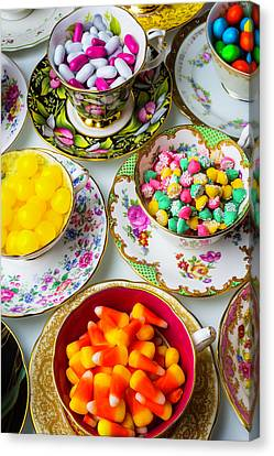 Lovely Tea Cups And Candy Canvas Print by Garry Gay