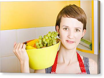 Youthful Canvas Print - Lovely Young Woman Holding Bowl Of Fruit Salad by Jorgo Photography - Wall Art Gallery