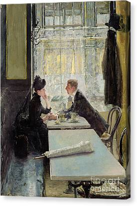 Lovers In A Cafe Canvas Print by Gotthardt Johann Kuehl