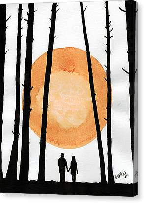 Lovers In Forest Canvas Print