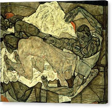 Lovers  Man And Woman I Canvas Print by Egon Schiele