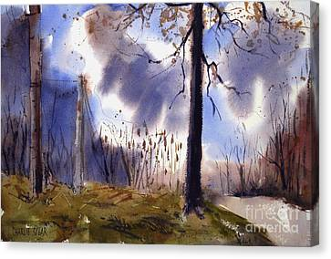 Canvas Print featuring the painting Lover's Oak Matted Framed Glassed by Charlie Spear