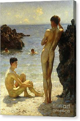 Beach Canvas Print - Lovers Of The Sun by Henry Scott Tuke