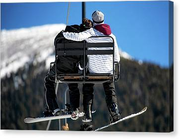 Couple Hugging Canvas Print - Lovers On Ski Lift by Susan Schmitz