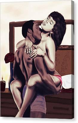 Lovers Sensual Love Canvas Print by Kenal Louis