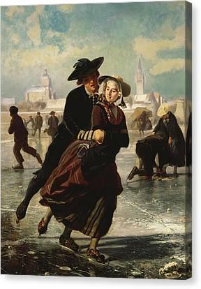 Lovers Skating Canvas Print