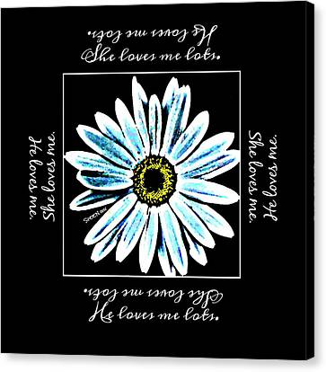Loves Me In Blue Canvas Print
