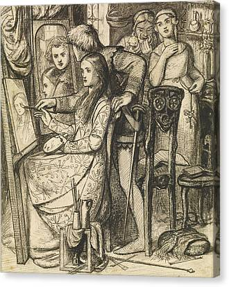 Love's Mirror Or A Parable Of Love Canvas Print by Dante Gabriel Rossetti