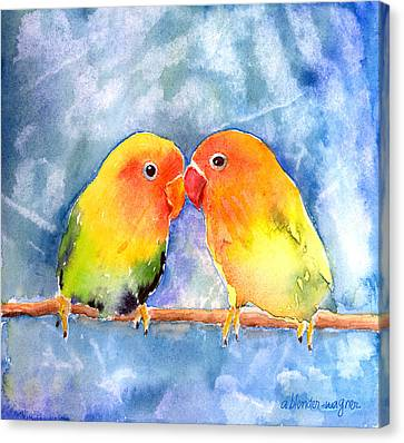 Lovey Dovey Lovebirds Canvas Print