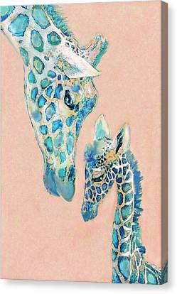 Loving Giraffes Family- Coral Canvas Print by Jane Schnetlage