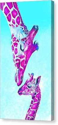 Loving Giraffes- Magenta Canvas Print by Jane Schnetlage