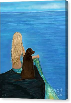 Canvas Print featuring the painting Loving Lab Loyalty by Leslie Allen